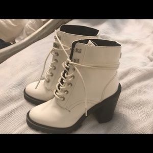 White faux leather lace up BOOTS